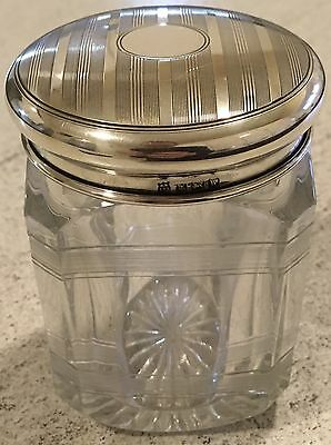 Hallmarked Silver Lid & Etched Glass 1936 William Beale & Sons Jar Antique