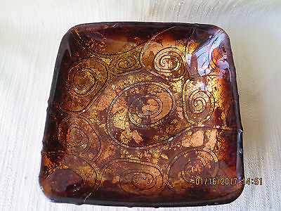"""Art Studio Made in Italy 8"""" Bowl Iridescent Copper Gold Over Brown Glass Vintage"""