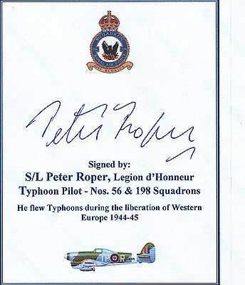SIGNED WWII Veteran Bookplate/Card - Roper RCAF Typhoon Pilot