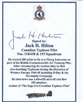 SIGNED WWII Veteran Bookplate/Card - Hilton RCAF Typhoon Pilot