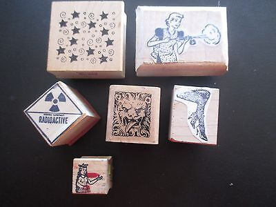 lot 6  wooden rubber stamps, mixed MISCELLANEOUS