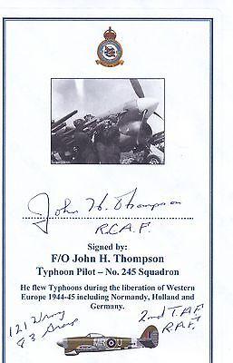SIGNED WWII Veteran Bookplate/Card - Thompson RCAF Typhoon Pilot