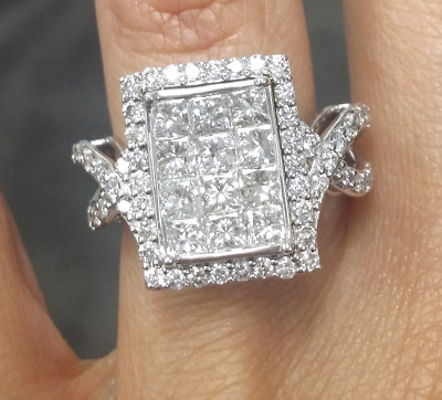Steal Deal! 2.70 CTW  NATURAL PRINCESS CUT GENUINE DIAMOND RING IN 14K GOLD
