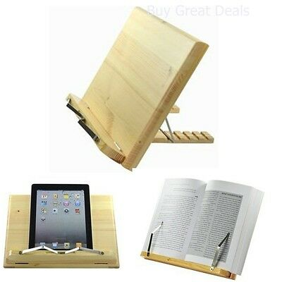 Wood Laptop Holder Book Stand Bamboo Reader School Office Heavy Music Elife New