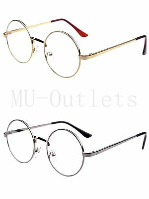 New Clear Lens Round Aviator Fashion Sunglasses Retro Vintage Style Metal Frame