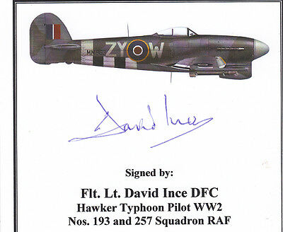 SIGNED WWII Veteran Bookplate/Card - Ince RAF Typhoon Pilot