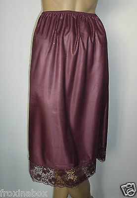"""Mulberry Brown Half Slip Size 20/22 Deep Lace 27"""" Inches Length Underskirt New"""
