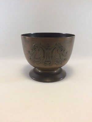 Antique Silver Crest Decorated Bronze Footed Bowl