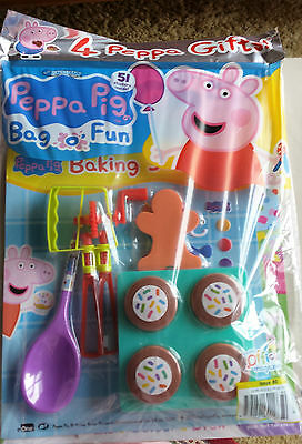Peppa Pig Baking Set With Stickers, Peppa Pig Bag O' Fun Magazine, 4 Gifts,no 80