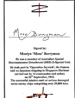 SIGNED WWII Special Forces Veteran Bookplate/Card - Berryman 'Z'-Special Unit