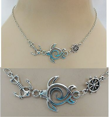 Silver Sea Turtle Strand Necklace Jewelry Handmade NEW adjustable Accessories