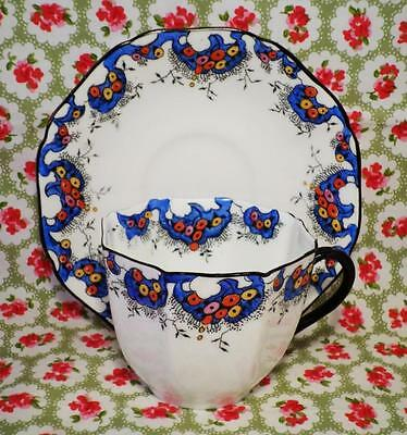 ART DECO Vintage SUTHERLAND China HAND PAINTED Cabinet Cup & Saucer STUNNING