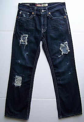 BUCKLE Big Star Dark Distressed Destructed Pioneer Jeans 34R   AWESOME Jeans!