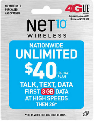 Net10 $40 Unlimited 30 Days Refill Card