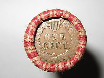 Sealed Wheat Indian Head Penny Mix Shotgun Roll With Indian Cent End Coin Lot 8F
