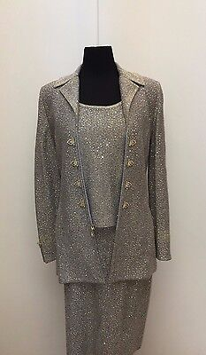 St John Evening Slate Blue and Gold Skirt Suit Size 6/S NWOT