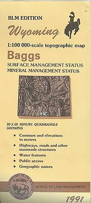 USGS BLM edition topographic map Wyoming BAGGS 1991 mineral