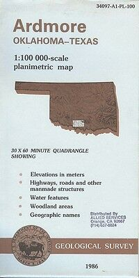 US Geological Survey topographic map metric ARDMORE Texas 1986