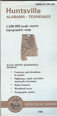 US Geological Survey topographic map metric Alabama Tennessee HUNTSVILLE 1984
