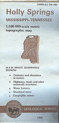 US Geological Survey topographic map metric Mississippi TN - HOLLY SPRINGS 1982