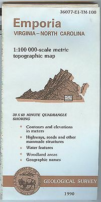 US Geological Survey topographic map metric Virgiinia NC EMPORIA 1990 - wd