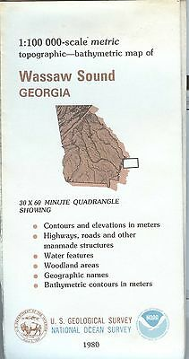 US Geological Survey NOAA topographic bathymetric map Georgia WASSAW SOUND 1980