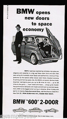 1959 BMW Isetta 600 Car Photo Vintage Print Ad
