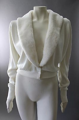 Gorgeous Vintage 60s IVORY Faux Fur Shawl Collar CARDIGAN SWEATER Wedding L