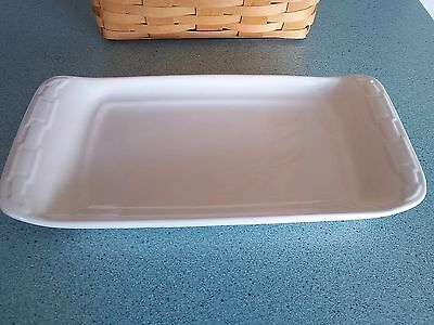 Longaberger Pottery Appetizer Tray Ivory Woven Traditions NEW in box