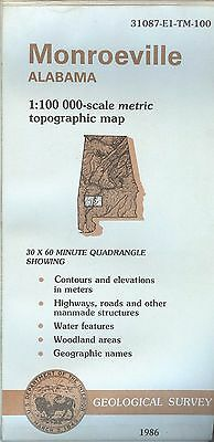 US Geological Survey topographic map metric MONROEVILLE Alabama 1986