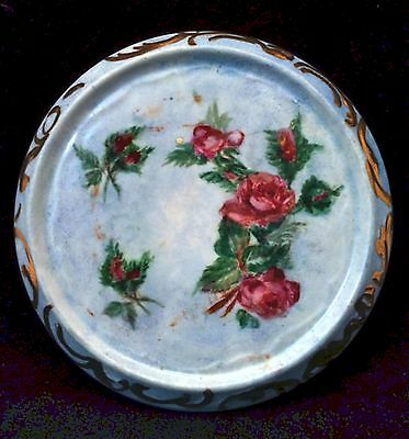 Antique Porcelain Tea Pot Teapot Trivet Blue Hand Painted Pink Roses Gold Trim