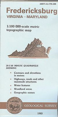 US Geological Survey topographic map metric FREDERICKSBURG Virginia MD 1983