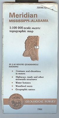 US Geological Survey topographic map metric MERIDIAN Mississippi Alabama 1984