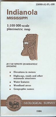 US Geological Survey topographic map metric INDIANOLA Mississippi 1984
