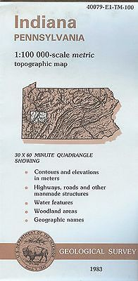 US Geological Survey topographic map metric INDIANA Pennsylvania 1983