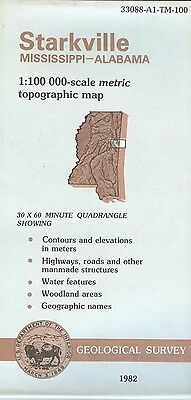 US Geological Survey topographic map metric STARKVILLE Mississippi Alabama 1982