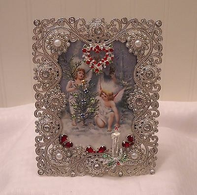 """Framed Jewelry Postcard 1900  Repro-"""" Christmas Forrest Angels """""""