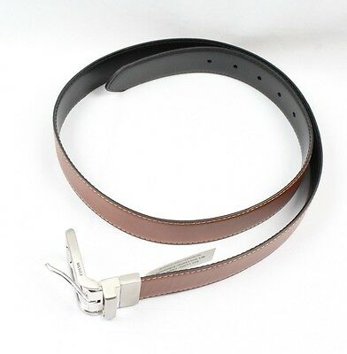 Fossil NEW Brown Black Mens Size 38 Faux-Leather Reversible Dress Belt $40- 196