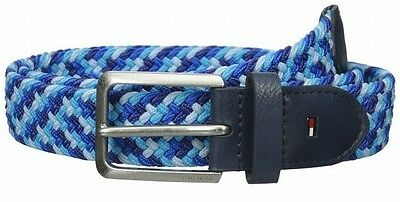 Tommy Hilfiger NEW Blue Mens Size 38 Stretch Braided Colorblock Belt $45 220