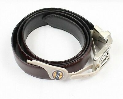 Fossil NEW Dark Brown Mens Size 40 Faux-Leather Reversible Dress Belt $40- 208