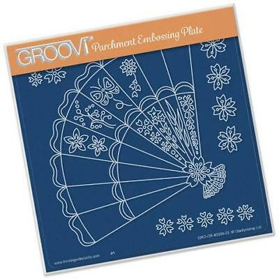 Claritystamp Oriental Fan Groovi Parchment Embossing Plate A5 GRO-OB-40309-03