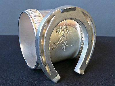Antique Victorian Silverplate Figural Napkin Ring Good Luck Horse Shoe
