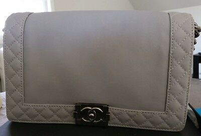 e1cbbcc87b07 Auth Chanel Medium Boy Reverso Gray/Grey Calfskin Flap Bag w/ Ruthenium HW  EUC