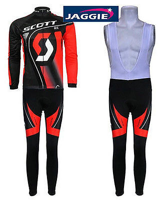 Men's black and red long sleeve jersey+ BiB pants cycling suit scott