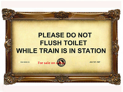 """""""PLEASE DO NOT FLUSH TOILET WHILE TRAIN IS IN STATION"""" - Great Northern Railroad"""