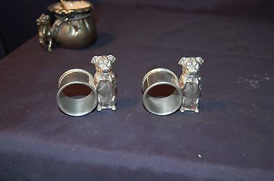 Vintage silverplate figural dog napkin rings no reserve must see!!