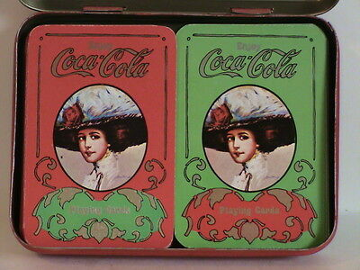 Vintage COCA COLA PLAYING CARDS & TIN HOLDER