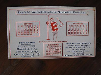 Vintage Blotter New Reduced Electric Rate Your Electric Servants RG and E Unused