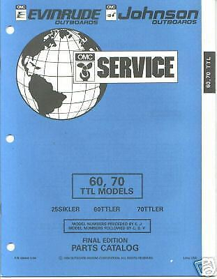 1966 EVINRUDE AND JOHNSON 60 HP OUTBOARD PARTS LIST CATALOG