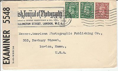 "Stamps  Great Britain  Cover  'Censored & Perfin""  1943"